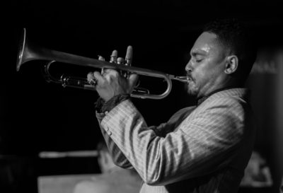 Picture Credit Charlotte Graham / Guzelian  Picture Shows Canadian Trumpeter Jay Phelps with his Quartet performing at the Spiegeltent, part of the Harrogate Festivals 50th Anniversary Jay Phelps Lead Mark Lewankowski Bassist  Shane Forbes Drummer Rick Simpson Pianist  Picture Taken Monday 12th September 2016